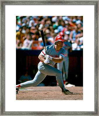 Pete Rose Connecting On Pitch Framed Print