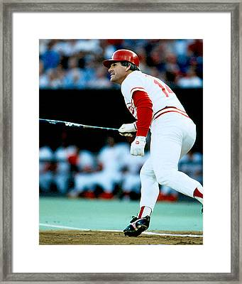 Pete Rose Follow Through Framed Print by Retro Images Archive