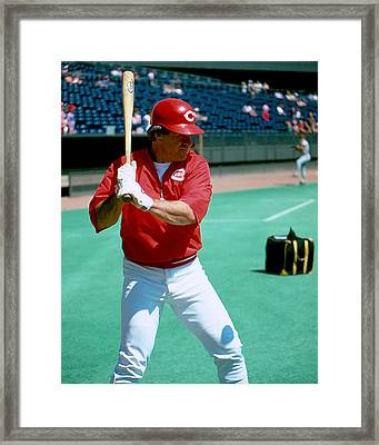 Pete Rose Warming Up Framed Print by Retro Images Archive
