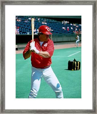 Pete Rose Warming Up Framed Print