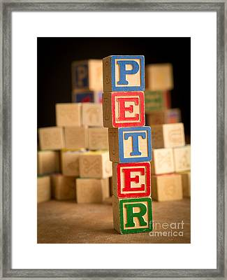 Peter - Alphabet Blocks Framed Print by Edward Fielding