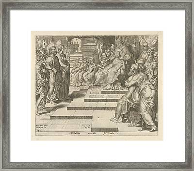 Peter And John Before The High Priest, Philips Galle Framed Print