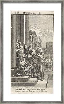 Peter And John Heal A Crippled Person, Jan Luyken Framed Print by Jan Luyken And Anonymous