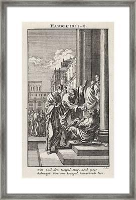 Peter And John Heal A Crippled Person, Jan Luyken Framed Print by Jan Luyken And Wed. Pieter Arentsz & Cornelis Van Der Sys (ii)