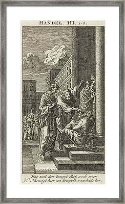 Peter And John Heal A Lame Man, Jan Luyken Framed Print by Jan Luyken And Anonymous