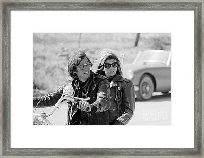 Peter Fonda And Nancy Sinatra In The Wild Angels Framed Print by The Harrington Collection