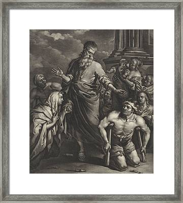 Peter Heals A Crippled Person Before The Temple Framed Print by Jan Van Somer