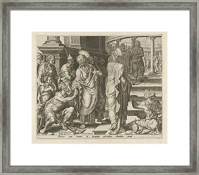 Peter Heals A Paralytic, Philips Galle, Hieronymus Cock Framed Print by Philips Galle And Hieronymus Cock