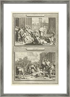 Peter Heals The Sick, The Stoning Of Stephen Framed Print by Artokoloro