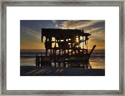 Peter Iredale Shipwreck Sunset Framed Print