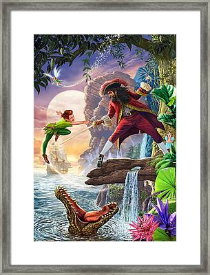 Peter Pan And Captain Hook Framed Print