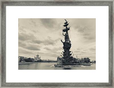 Peter The Great Monument In The Moscva Framed Print by Panoramic Images