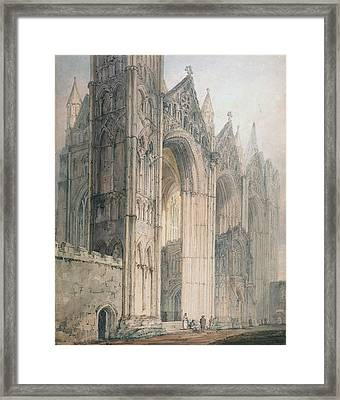 Peterborough Cathedral Framed Print by Thomas Girtin
