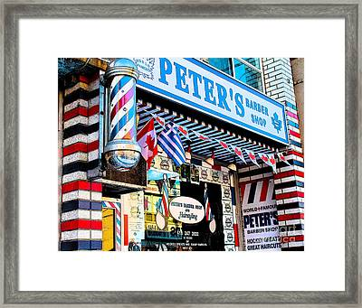 Peter's Barber Shop Circa 1961 Framed Print by Nina Silver