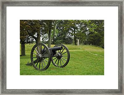 Petersburg National Battlefield Cannon And Monument Framed Print by Bruce Gourley