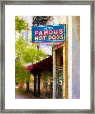 Pete's Famous Hot Dogs Framed Print by Fred Baird