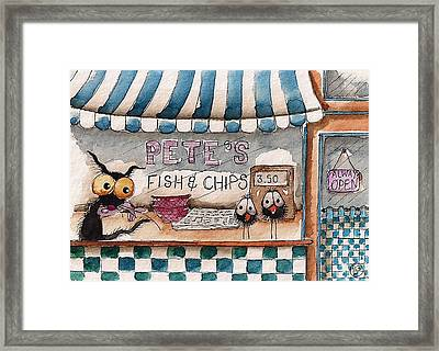 Pete's Fish And Chips Framed Print by Lucia Stewart