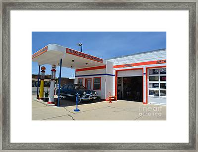 Framed Print featuring the photograph Pete's Gas Station by Utopia Concepts