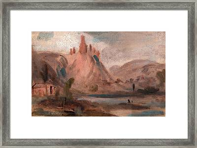 Petit Andeleys On The Seine Landscape With A Castle Framed Print by Litz Collection