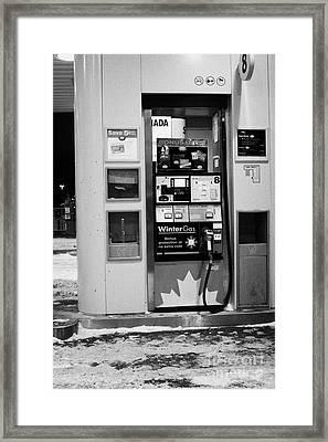 petro canada winter gas fuel pump at service station Regina Saskatchewan Canada Framed Print