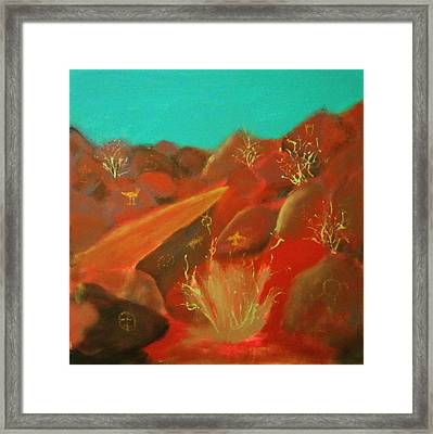 Framed Print featuring the painting Petroglyph Park by Keith Thue