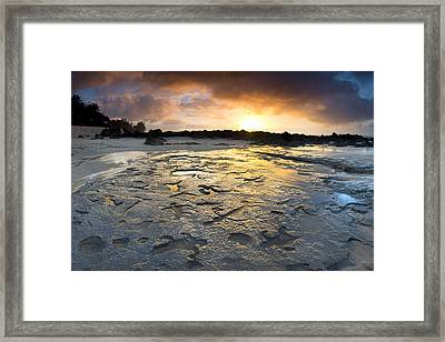 Petroglyphic Sunset Framed Print by Sean Davey