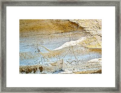 Petroglyphs At Petroglyph Point In Lava Beds Nmon-ca Framed Print