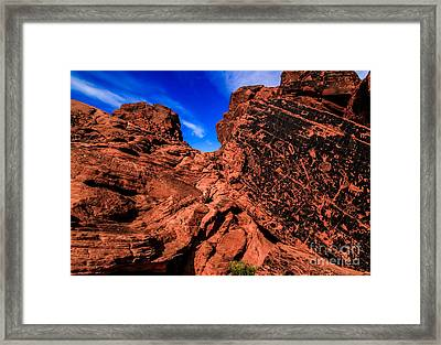 Petroglyphs Of Valley Of Fire Canyon Framed Print by Brenda Giasson