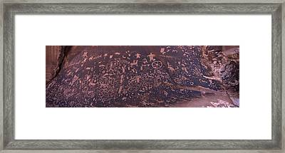 Petroglyphs On A Rock, Newspaper Rock Framed Print by Panoramic Images