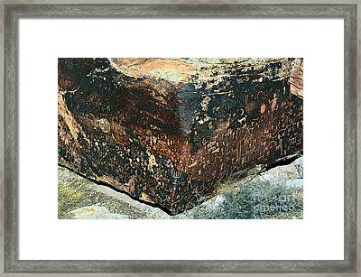 Petroglyphs On Newspaper Rock Petrified Forest National Park Poster Edges Framed Print