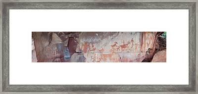 Petroglyphs On Rock, Palatki Ruins Framed Print