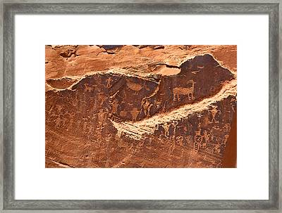 Petroglyphs Or Rock Art In Utah Framed Print