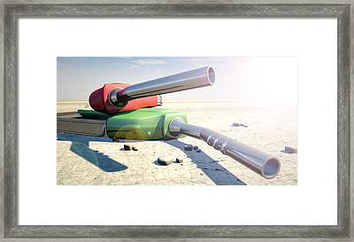 Petrol Nozzles In The Desert Framed Print
