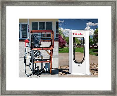 Petrol Pump And Electric Charging Point Framed Print