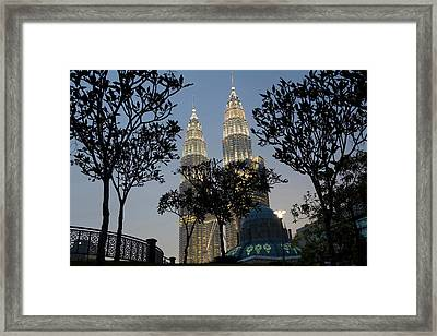 Petronas Towers And Al-asyikin Mosque Framed Print by Peter Adams