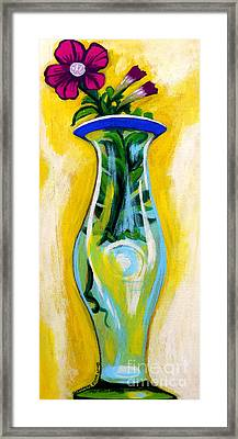 Petunia In Vase With Yellow Background Framed Print by Genevieve Esson