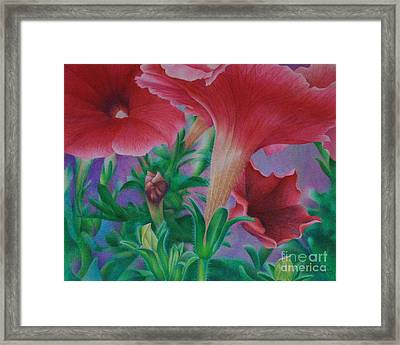 Framed Print featuring the painting Petunia Skies by Pamela Clements
