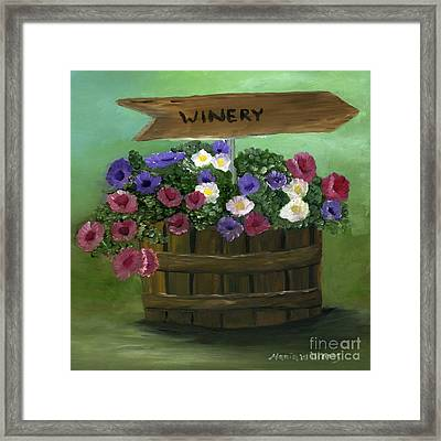 Petunias In A Barrel Framed Print by Maria Williams