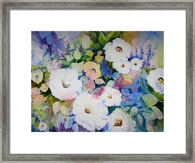Petunias In White Framed Print