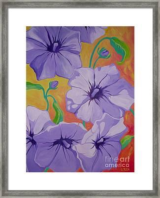 Petunias Framed Print by Sandra Yuen MacKay