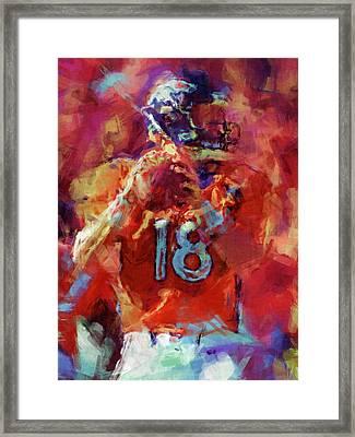 Peyton Manning Abstract 3 Framed Print by David G Paul