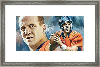 Peyton Manning Artwork Framed Print by Sheraz A