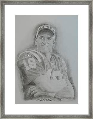 Peyton Manning Framed Print by Brent  Mileham