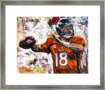 Peyton Manning Framed Print by Mark Courage