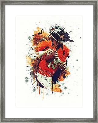 Peyton Manning Framed Print by Taylan Apukovska
