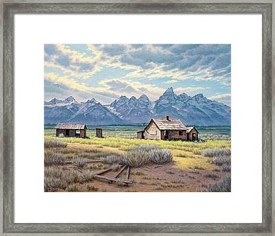 Pfeiffer Homestead-tetons Framed Print by Paul Krapf
