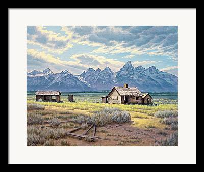 Old Cabins Framed Prints