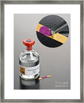 Ph Of Concentrated Sulphuric Acid Framed Print by Martyn F. Chillmaid