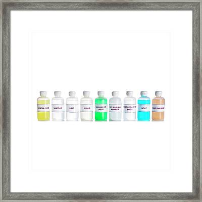 Ph Range Of Household Solutions Framed Print by Science Photo Library