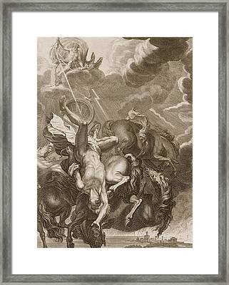 Phaeton Struck Down By Jupiter's Thunderbolt Framed Print by Bernard Picart